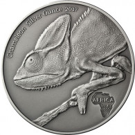 Kongo 1000 Francs 2017 Antique Finish Chamäleon