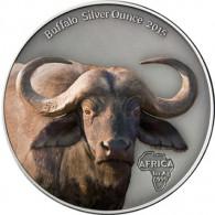 Silbermünze Gabun Büffel in Farbe Silberunze 2015