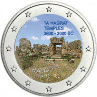 2 Euro Sondermünze Malta 2019  Ta' Hagrat - Serie Prähistorische Stätten Maltas mit Farbmotiv Künstler Ausgabe