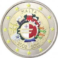 Malta 2 Euro 2012 befärbte Münzen Euro Bargeld in Farbe