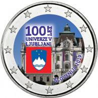 2 Euro Farbmünzen Slowenien 100. Jahrestag Gründung Universität Ljubljana 2019  in FARBE