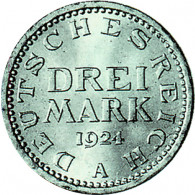 J. 312  Weimar    3 Reichsmark Kursmünmze 1924 Sonderpreis