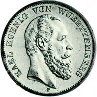 J. 173     Württemberg 5 Mark  Karl  1874-1888 SONDERPREIS!