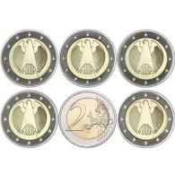 Deutschland 2 Euro 2005 bfr. Mzz.A bis J  Bundesadler