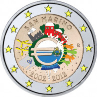 San Marino 2 Euro 2012 stgl. 10 Jahre Bargeld in Farbe