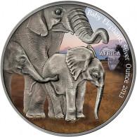 Silbermünze Gabun Elefanten Silberunze 2013 in Farbe