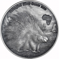 1 oz Silbermünzen Stachelschwein - Kongo 1000 Francs 2020 Porcupine Silver Ounce