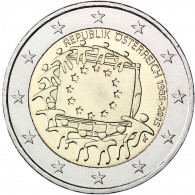 EU Flagge 2 Euro Münzen Österreich Gemeinschaftsausgabe