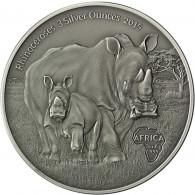 Kongo 3 Unzen Silber 2015 Nashörner Münze
