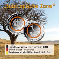 5 Euro Münze 2018 Subtropische Zone - Deutschland - Klimazone  Folder