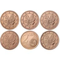 Kursmünzen 2 Euro-Cent Deutschland 2014 in Stempelglanz mit Eichenzweig