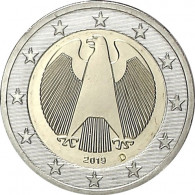 Deutschland 2 Euro Kursmuenzen  Motiv Bundesadler geprägt 2019 iMünzprägestätte München