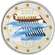 2 Euro-Gedenkmünzen Finnland  90. Jahre Unabhängigkeit 2007 in Farbe