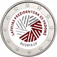 Lettland 2 Euro 2015 bfr. EU Ratspräsidentschaft in Farbe