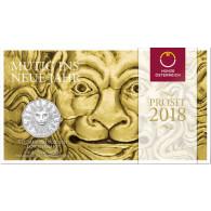 Neujahrsmünze Österreich 5 Euro Silber  2018 Löwenkraft - Mutig ins neue Jahr im Folder