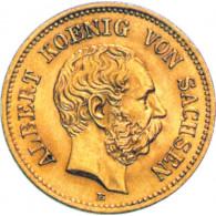 J. 260 Sachen 5 Goldmark 1877 aus dem Königreich Sachsen mit dem Motiv von  Albert