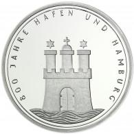 Deutschland 10 DM Silber 1989 Stgl. 800 Jahre Hafen und Hamburg