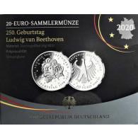 Deutschland 20 Euro 2020 Silber  PP 250. Geb.Ludwig van Beethoven