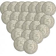 Jäger 387 - 5 DM Silber-Adler 1951 bis 1974 Komplett (ohne 1958 J) 72 Münzen