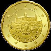Slowakei 20 Cent 2009  bfr. Burg von Bratislava