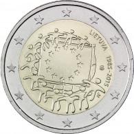 EU Flagge 2 Euro Münzen Litauen Gemeinschaftsausgabe