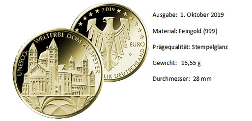 100 Euro Gold 2019 UNESCO Dom zu Speyer